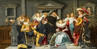 merry company making music on a terrace by dirck hals
