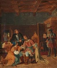 king valdemar i of denmark and bishop absalon in fjenneslevlille by christian emil andersen