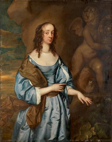 porträt einer adeligen dame vor einer amorbrunnenfigur by sir peter lely