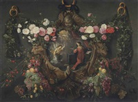 a garland of roses, peonies, grapes, cherries, and other fruit, draped around a cartouche sculpted with the symbols of the four evangelists... by flemish school (17)