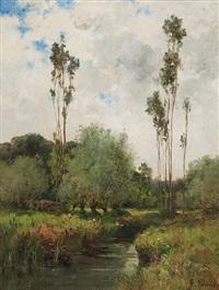 sommerliche bachlandschaft mitweiden und pappeln by leon germain pelouse