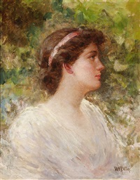 portrait of a woman in white by william f. allan