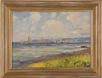 sailing ships off the coast by henry stephens eddy