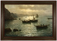 fishing boats off the coast of capri by vincenzo d' auria