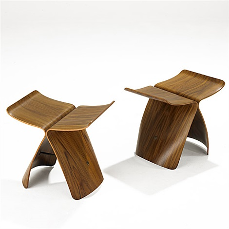 butterfly stools pair by sori yanagi