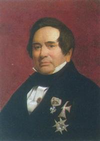portræt af adam oehlenschläger i gallauniform med ordener by vilhelm (johan v.) gertner