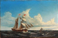 seascape with a saling ship near a fortress by jens thielsen locher