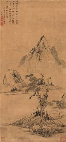 溪岸草堂 landscape by liang mengzhao