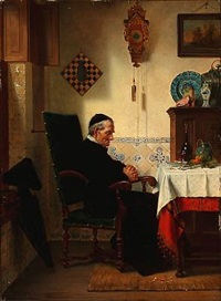 interior with a praying monk by charles meer webb