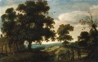 flämische landschaft mit bauern im vordergrund by jacques fouquieres
