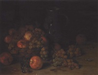 a still life with apples, grapes and a pitcher, with wasps in the foreground by aloys eckardt