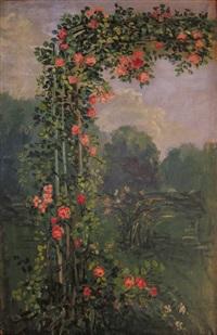 roses trémières devant un parc by pierre laprade