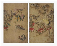 birds and flowers (+ crane, peony and bamboo; 2 works) by anonymous-korean (19)