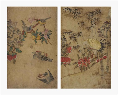 birds and flowers crane peony and bamboo 2 works by anonymous korean 19