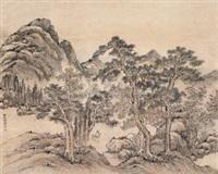 深山策杖图 (landscape) by guan huai