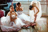 three ballet girls taking a break by alexander akopov