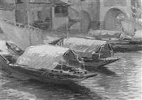 hafenpartie mit vertäuten booten im sonnenschein by jakob wagner