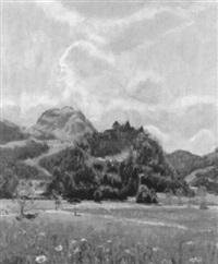 landschaft mit den türmen von gruyères über der ebene by herbert) valentin (dobi
