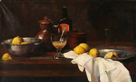 still life with lemons and a punch glass by herman albert gude vedel