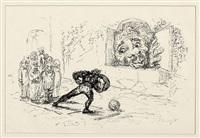 der königssohn, der sich vor nichts fürchtet (portfolio of 18 w/title pg. & colophon for fairytale by the bros. grimm) (+ der königssohn, der sich vor nichts fürchtet, bk by the bros. grimm w/17 works, 4to) by max slevogt