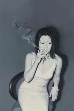 the girl smoking by he sen