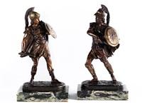 kämpfende römische soldaten im harnisch mit fell, kurzschwert und schild (+ another; pair) by léon pilet