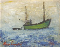 study of a green trawler towing a small boat by alan lowndes