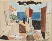 Cubistic Street Scene, San Tropez, France, 1934