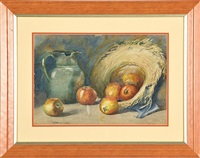 still life of apple in straw hat and pitcher by cornelia earle