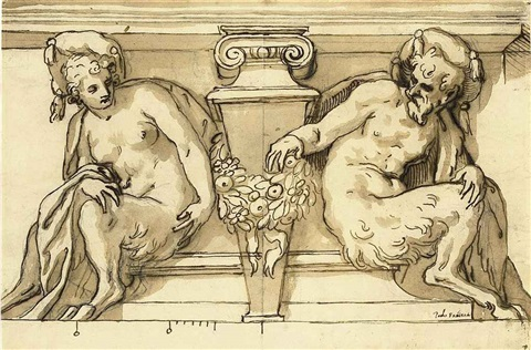 architectural design with male and female satyrs supporting a pediment by paolo farinati