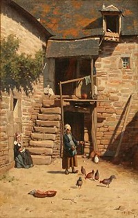 a girl feeding chickens in a courtyard by jan bedijs tom