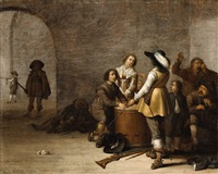 interior with soldiers, money changers and peasants by jacob duck