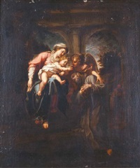 madonna con bambino, san francesco e angelo by annibale carracci