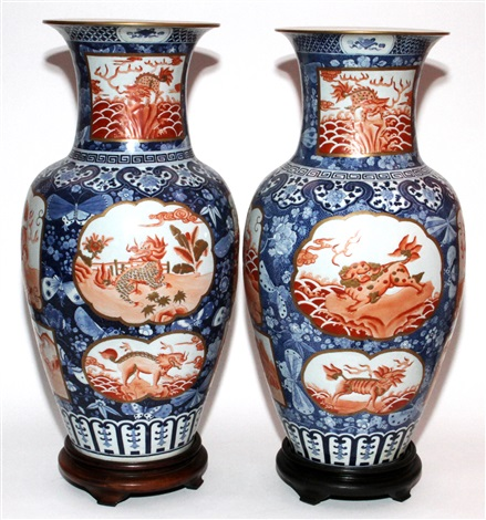 chinese porcelain baluster form vases 19th c pair h 27