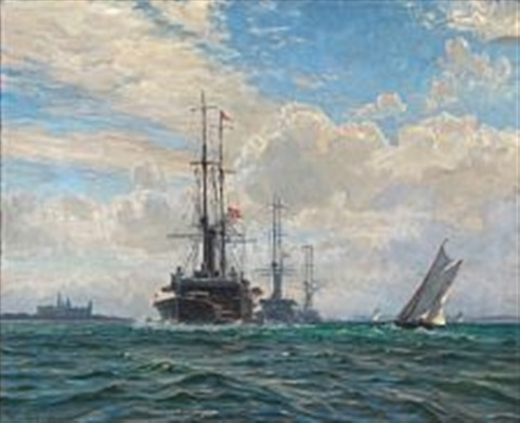convoy near kronborg castle with three danish warships herluf trolle and olfert fischer and peder skram by vilhelm karl ferdinand arnesen