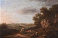 landschaft mit jungem paar und weidenden kühen by anonymous-german (18)