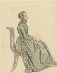 a young woman seated by james smetham