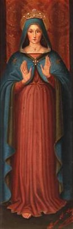 the virgin mary in a blue cloak by maria a angeloni