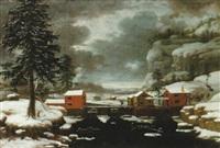 vinterlandskap med faluröda dammbyggnader by t. filoque