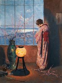geisha am fenster by endre komaromi-kacz