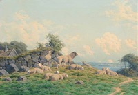 summer day with a flock of grazing sheep by carl frederik bartsch