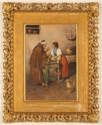 woman selling oranges to a monk by g. fortunati