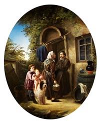 bauernfamilie im hof by vladimir fadeev