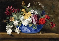 floral still life with a snail and butterfly by jean-michel picart