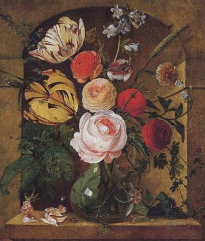 blumen in einer glasvase by arnoldus bloemers