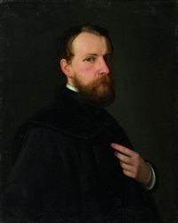 selbstporträt mit schwarzem umhang by heinrich hofmann