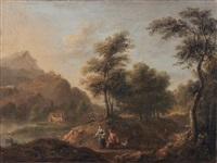 landschaft mit jungem paar und hund by anonymous-german (18)