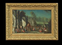 architectural capriccio with a wedding feast by alessandro magnasco