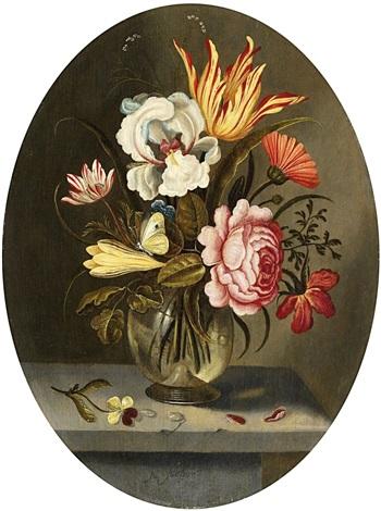 blumenstrauss mit tulpe iris und rose in einer glasvase by abraham bosschaert