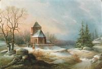vintermotiv med figurer vid kyrka, aftonrodnad by lars theodor billing